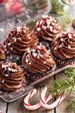 Petits gâteaux de menthe poivrée de chocolat avec la canne de sucrerie Photo libre de droits