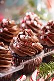Petits gâteaux de menthe poivrée de chocolat avec la canne de sucrerie Images libres de droits