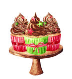 Petits gâteaux de Noël d'isolement sur un blanc, illustration d'aquarelle Image stock