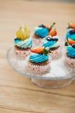 Petits gâteaux doux d'anniversaire avec le fromage de baie et fondu Image libre de droits