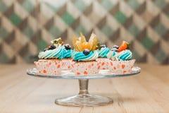 Petits gâteaux doux d'anniversaire avec le fromage de baie et fondu Photographie stock