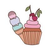 Petits gâteaux et crème glacée délicieux pour l'été illustration stock