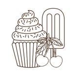 Petits gâteaux et crème glacée délicieux pour l'été illustration de vecteur