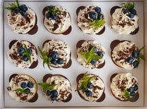Petits gâteaux faits main avec de la crème de beurre, le chocolat râpé, les feuilles en bon état et les myrtilles dans un boîtier Photographie stock libre de droits