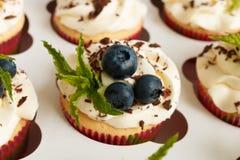 Petits gâteaux faits main avec de la crème de beurre, le chocolat râpé, les feuilles en bon état et les myrtilles dans un boîtier Photo libre de droits