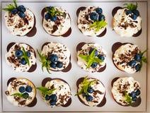 Petits gâteaux faits main avec de la crème de beurre, le chocolat râpé, les feuilles en bon état et les myrtilles dans un boîtier Photo stock