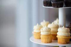 Petits petits gâteaux jaunes avec se givrer photos stock