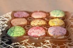 Petits gâteaux multicolores ronds au soleil images libres de droits