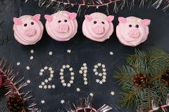 Petits gâteaux roses de porc - les petits gâteaux faits maison décorés de la crème et de la guimauve de protéine ont formé les pi photos libres de droits