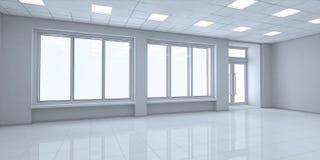 Petits intérieurs vident la boutique avec de grandes fenêtres Photo stock