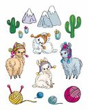 Petits jolis lamas dans le style de griffonnage Photos stock