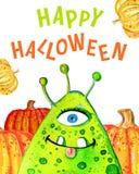 Petits monstre et potirons verts de bande dessinée avec le ` heureux de Halloween de ` de titre Illustration tirée par la main d' illustration stock