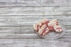 Petits morceaux coupés de ventre de porc de la glace Morceaux juteux de image libre de droits