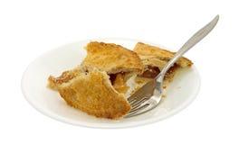 Petits morceaux de tarte aux pommes de plat avec la fourchette Images stock