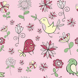 Petits oiseaux drôles mignons avec des fleurs dans des couleurs en pastel sur un rose Photo stock
