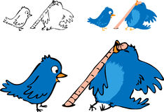 Petits oiseaux : Vers de terre contagieux Images libres de droits