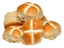 Petits pains croisés chauds de Pâques Photos stock