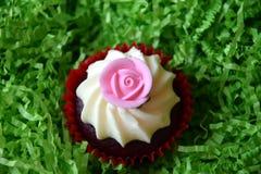Petits pains décorés de la fleur rose sur le fond vert Photos libres de droits