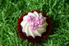 Petits pains décorés des fleurs roses sur le fond vert Image libre de droits
