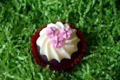 Petits pains décorés des fleurs roses sur le fond vert Photo stock
