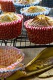 Petits pains de banane se refroidissant sur le support, caisses vides de petit pain, peau de banane Photographie stock