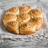 Petits pains de cannelle sur la surface en bois lumineuse Photographie stock libre de droits