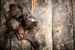 Petits pains de chocolat sur le conseil Photographie stock