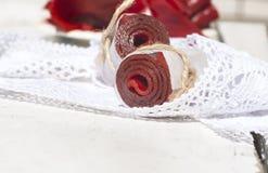 Petits pains de cuir de fruit, tir de plan rapproché Image stock