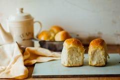 Petits pains de pain à l'ail avec l'ail Petit pain de pain avec l'ail maison luxuriante Photos stock