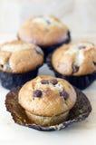 Petits pains de puce de chocolat sur un conseil en bois Images libres de droits