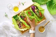 Petits pains de ressort de detox de Vegan avec le quinoa, les pousses et arachide thaïlandaise SA photographie stock libre de droits