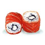 Petits pains de sushi japonais traditionnels d'isolement illustration stock