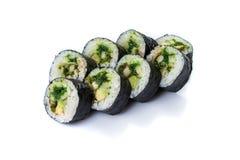 Petits pains de sushi réglés servis sur le blanc Photographie stock libre de droits
