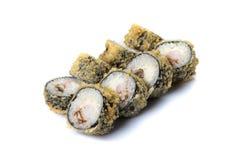 Petits pains de sushi réglés servis sur le blanc Image libre de droits