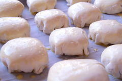 Petits pains doux non préparés couverts d'oeuf cru, la pâte sur une plaque de cuisson, la pâte employée pour rendre frais, fait m Photos stock