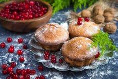 Petits pains et boisson de fruit frais de canneberge avec un fond foncé et l'arbre de branche Photo stock