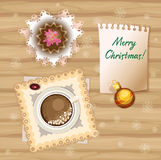 Petits pains et café de petit déjeuner de Noël de vecteur Images libres de droits