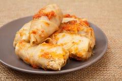 Petits pains faits maison délicieux de chou bourrés du riz et de la viande dans p Photographie stock libre de droits