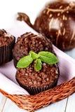 Petits pains faits maison de chocolat dans le support de papier de petit gâteau Photographie stock libre de droits