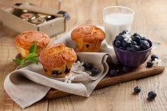 Petits pains faits maison de myrtille avec le verre de lait Images libres de droits