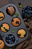 Petits pains faits maison de vanille avec des myrtilles photo stock