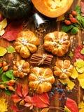Petits pains frais de potiron Photo stock