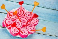 Petits pains roses de gelée de guimauve images libres de droits