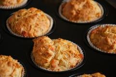 Petits pains savoureux faits maison avec les poissons et le fromage dans un bidon S sain Photographie stock