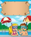 Petits plongeurs de prise d'air de parchemin et d'enfants Photo stock