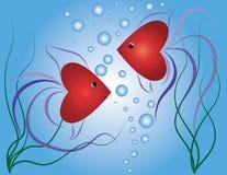 Petits poisson-coeurs illustration de vecteur. Illustration du coeurs -  14228899