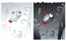 Petits poissons seuls noirs et blancs illustration de vecteur