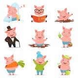 Petits porcs drôles dans différentes situations réglées Illustrations colorées de vecteur de personnages de dessin animé Photo libre de droits