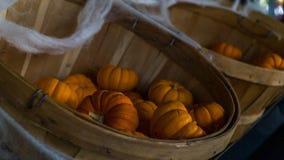 Petits potirons de Halloween dans un panier en bois avec la toile d'araignée Photographie stock