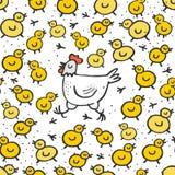 Petits poulets jaunes avec le modèle sans couture de Pâques de poule blanche de maman Photos libres de droits